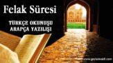 Felak Süresi Okunuşu Arapçası
